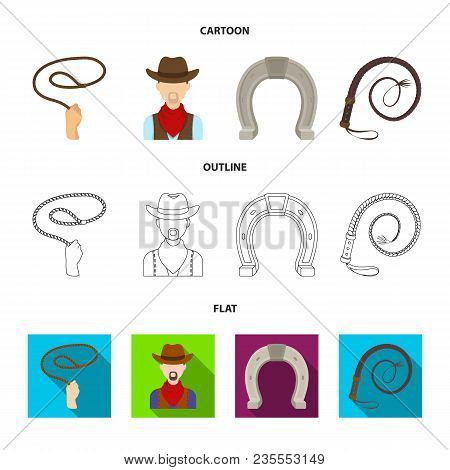 Hand Lasso, Cowboy, Horseshoe, Whip. Rodeo Set Collection Icons In Cartoon, Outline, Flat Style Vect