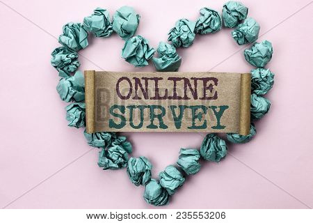 Writing Note Showing  Online Survey. Business Photo Showcasing Digital Media Poll Customer Feedback