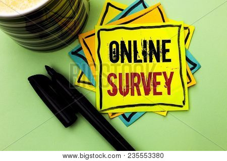 Handwriting Text Writing Online Survey. Concept Meaning Digital Media Poll Customer Feedback Opinion
