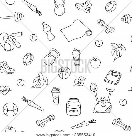 Seamless Pattern With Isolated Fitness Doodles. Hand Drawn Tillable Background. Sketchy Gym Equipmen