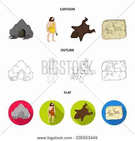 Ancient, World, Stone Age .stone Age Set Collection Icons In Cartoon, Outline, Flat Style Vector Sym