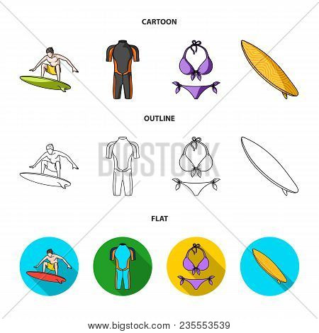 Surfer, Wetsuit, Bikini, Surfboard. Surfing Set Collection Icons In Cartoon, Outline, Flat Style Vec