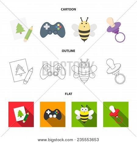 Picture, Dzhostik, Bee, Nipple.toys Set Collection Icons In Cartoon, Outline, Flat Style Vector Symb
