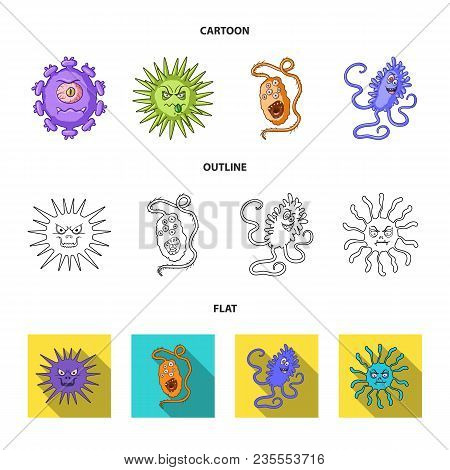 Different Types Of Microbes And Viruses. Viruses And Bacteria Set Collection Icons In Cartoon, Outli