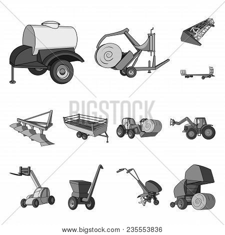 Agricultural Machinery Monochrome Icons In Set Collection For Design. Equipment And Device Vector Sy
