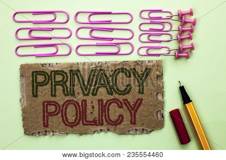 Handwriting Text Writing Privacy Policy. Concept Meaning Document Information Security Confidential