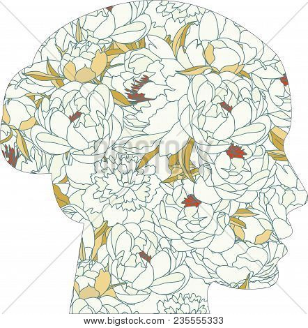 Vector Head Silhouette With Peonies. Blooming Peonies, Female Profile, Silhouette Double Exposure. W