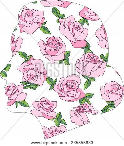 Vector Head Silhouette With Roses. Blooming Roses, Female Profile, Silhouette Double Exposure. Woman