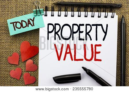 Writing note showing  Property Value. Business photo showcasing Estimate of Worth Real Estate Residential Valuation poster