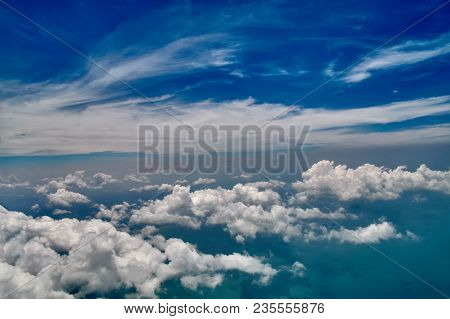 Beautiful Blue Sky And White Clouds Background. Sky Atmosphere Panorama. Heavenly Bright Daylights.
