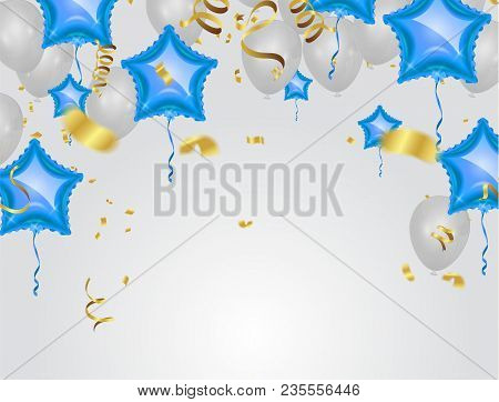 Star Blue balloon and White balloon on background. Party helium balloons event design decoration confetti and ribbons. Vector illustration poster