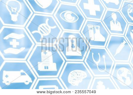 Medical Background - Healthcare Logo, Doctor Icon And Medical Symbol On Blue Background Displaying H