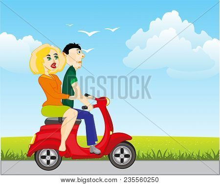 Lad Girl Go On Motorcycle On Road In Field