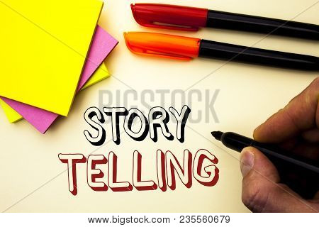Handwriting Text Writing Story Telling. Concept Meaning Tell Or Write Short Stories Share Personal E