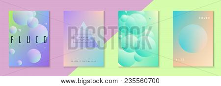 Minimal Shapes Cover Set With Holographic Fluid. Gradient On Vibrant Background. Trendy Hipster Temp