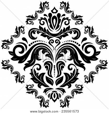 Oriental Vector Pattern With Arabesques And Floral Elements. Traditional Classic Black And White Orn