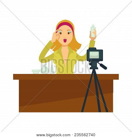 Blogger Girl Or Vlogger Woman Shooting Beauty Makeup Skincare Tutorial For Social Net Photo Blog Or