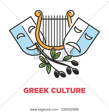 Greek Culture Promo Poster With Ancient Theatrical Symbols And Olives On Branch. Golden Harp, Masks