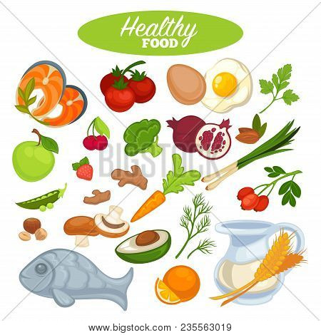 Healthy Food Poster Or Natural Organic Vegetables, Fruits Or Fish. Vector Design For Health Lifestyl