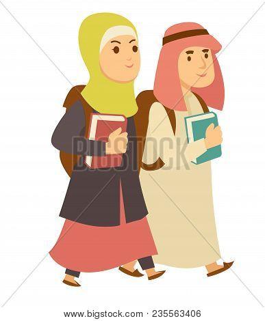 Arab Muslim Kids Going To School With Books. Vector Isolated Cartoon Saudi Arabian Boy And Girl Mode