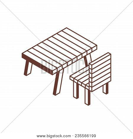 Camping Or Picnic Recreation Area Isometric Icon. Rest Area Illustration With Garden Wooden Table An