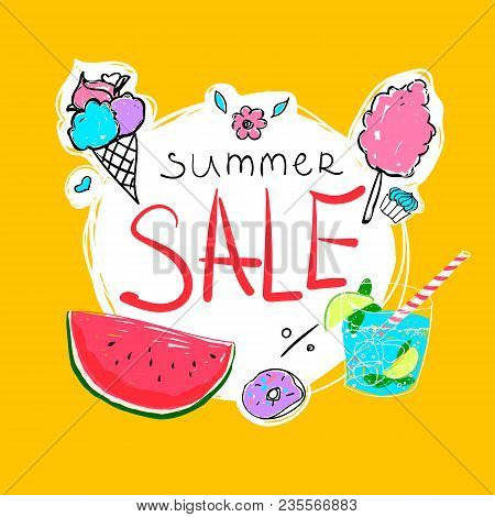 Summer Sale Calligraphy With Watermelon, Donut, Ice-cream, Cocktail And Candyfloss. Vector Hand Draw