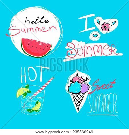 Set Of Hand Drawn Elements - Watermelon, Ice-cream, Cocktail And Flower With Text Hello Summer. Vect