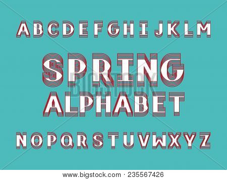 Spring Bold Font.  Vector Alphabet Letters. Typeface Design.