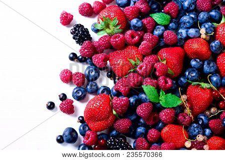 Assortment Of Strawberry, Blueberry, Currant, Mint Leaves. Food Frame, Border Design. Vegan And Vege