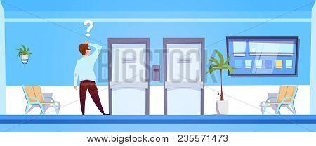 Pondering Man In Hospital Choosing Dortor Office Door Flat Vector Illustration
