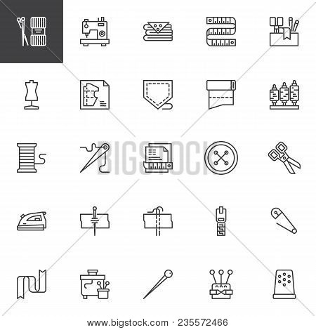 Sewing Outline Icons Set. Linear Style Symbols Collection, Line Signs Pack. Vector Graphics. Set Inc