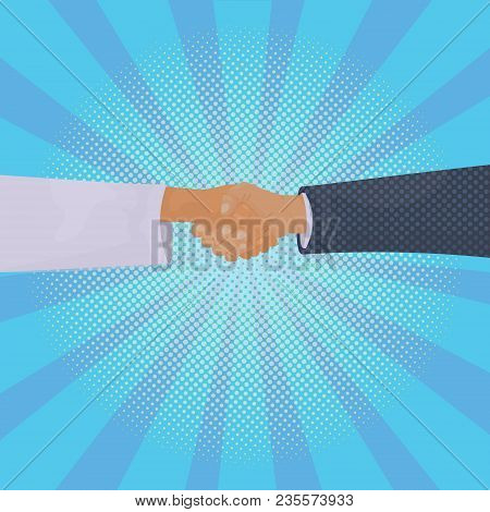 Hand Shake Over Comic Retro Background Business Handshake And Agreement Concept Vector Illustration