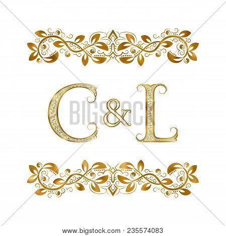 C And L Vintage Initials Logo Symbol. The Letters Are Surrounded By Ornamental Elements. Wedding Or