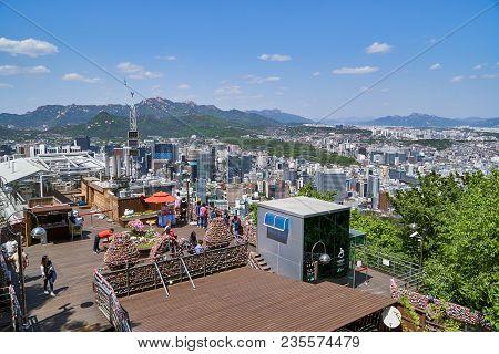 Seoul, Korea - April 26, 2017:  Obervatory In Namsan Mountain And Cityscape Of Seoul. Namsan Located