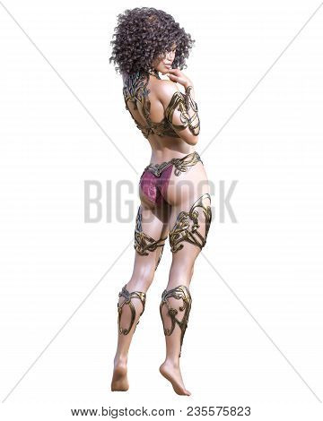 Warrior Amazon Woman. Long Dark Hair. Muscular Athletic Body. Girl Standing Candid Provocative Pose.