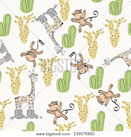 Vector Hand Drawn Seamless Pattern With Cactuses And Animals