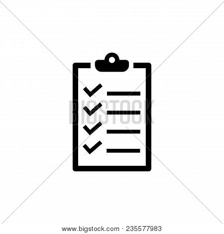 Checklist Icon In Flat Style. To Do List Symbol Isolated On White Background. Simple Abstract Check