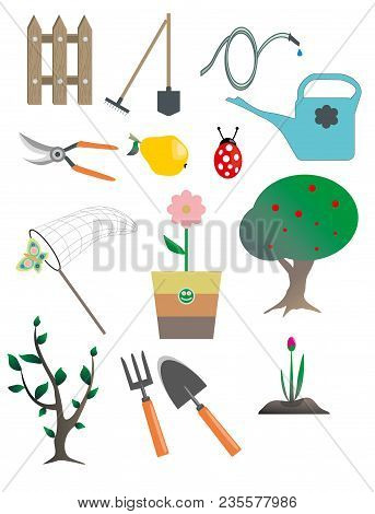 A Set Of Flat Design Elements For Garden. Modern Flat Vector Collection.