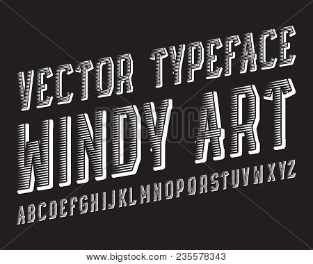 Windy Art Vector Typeface. White Dynamic Font. Isolated English Alphabet.