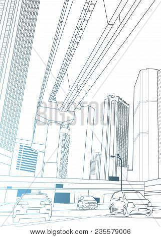Modern City View With Skyscrapers And Cars On Road Thin Line Design Over White Background Vector Ill