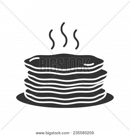 Pancakes Stack Glyph Icon. Silhouette Symbol. Negative Space. Vector Isolated Illustration