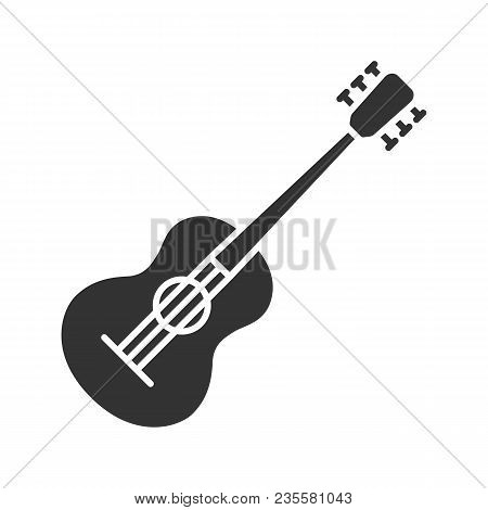 Guitar Glyph Icon. Silhouette Symbol. Negative Space. Vector Isolated Illustration