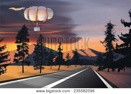 Nature Background. Car Road In Wild Mountain Terrain With Pine Trees. Airship In Sky. Colorful Cloud