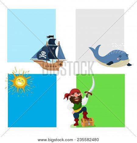 Pirate Treasure Vector Cards Adventure Sea Nautical Symbols Nautical Character Captain Sailor With S