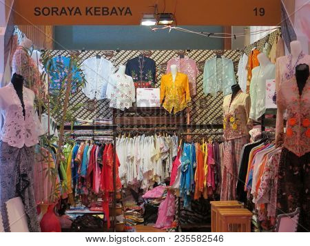 Jakarta, Indonesia - June 8, 2017: An Exhibition Booth Displaying Indonesia Traditional Kebaya And B