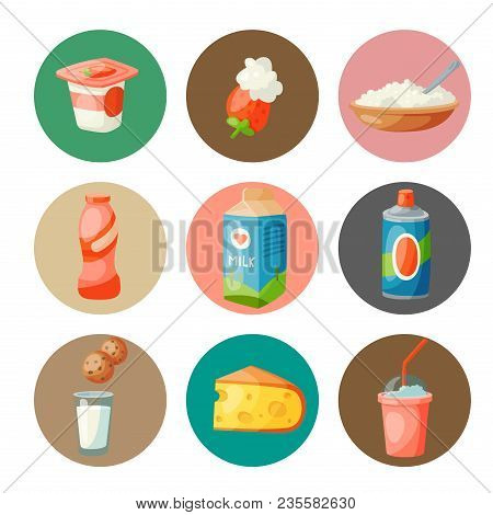 Milk Dairy Products Vector Flat Style Breakfast Gourmet Organic Meal Fresh Diet Food Milky Drink Ing