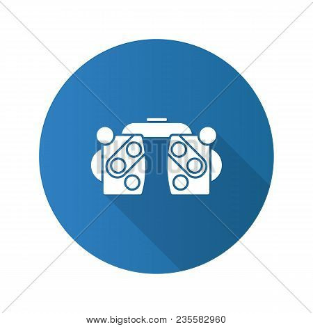 Phoropter Flat Design Long Shadow Glyph Icon. Refractor. Ophthalmic Testing Device. Vector Silhouett