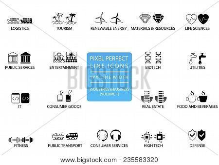 Pixel Perfect Thin Line Icons And Symbols Of Various Industries / Business Sectors Like Public Servi