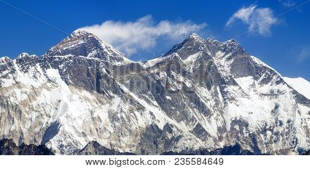 View Of Mount Everest, Nuptse Rock Face, Lhotse And Lhotse Shar From Kongde - Sagarmatha National Pa