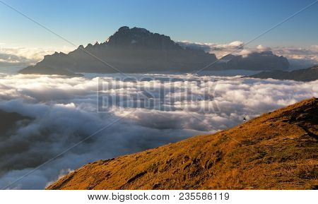 Morning View Of Mount Civetta From Col Di Lana, South Tirol, Alps Dolomites Mountains, Italy